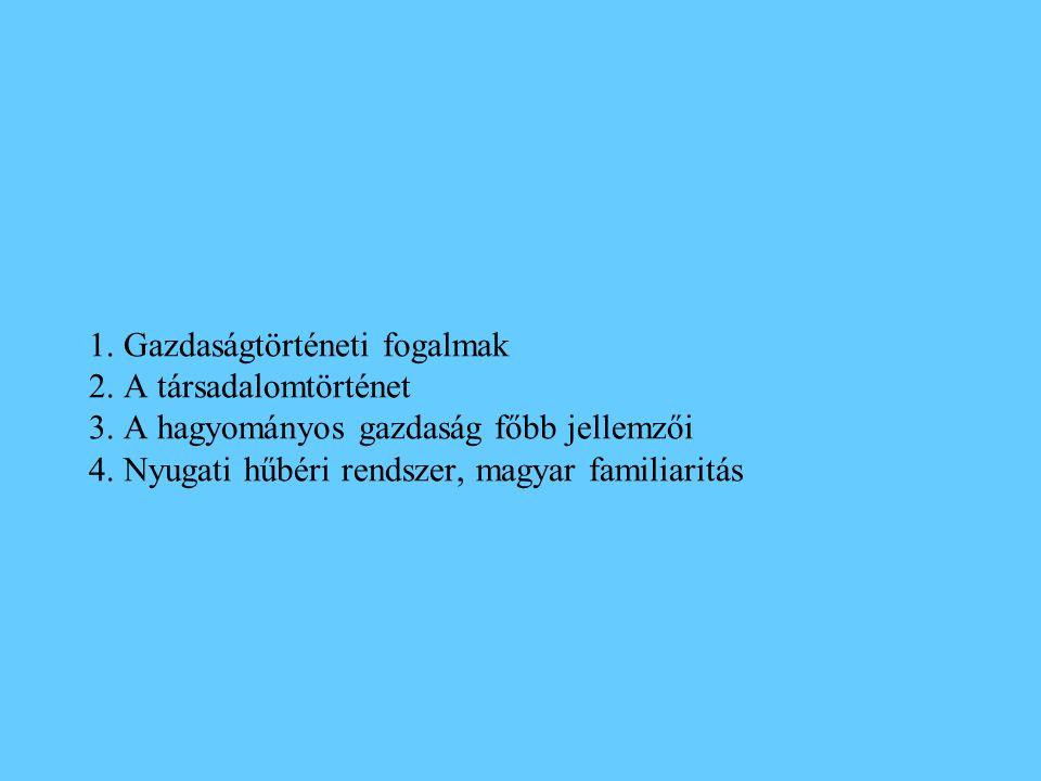 1.Gazdaságtörténeti fogalmak 2. A társadalomtörténet 3.