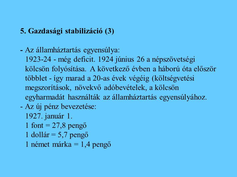 5. Gazdasági stabilizáció (3) - Az államháztartás egyensúlya: 1923-24 - még deficit. 1924 június 26 a népszövetségi kölcsön folyósítása. A következő é