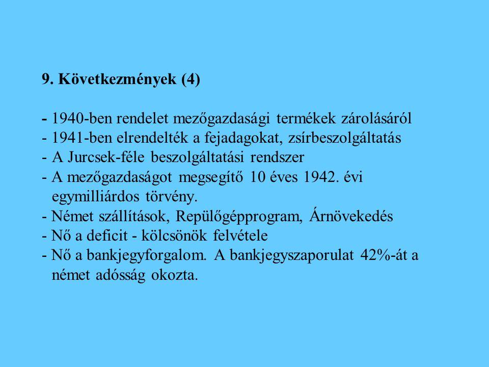 9. Következmények (4) - 1940-ben rendelet mezőgazdasági termékek zárolásáról - 1941-ben elrendelték a fejadagokat, zsírbeszolgáltatás -A Jurcsek-féle
