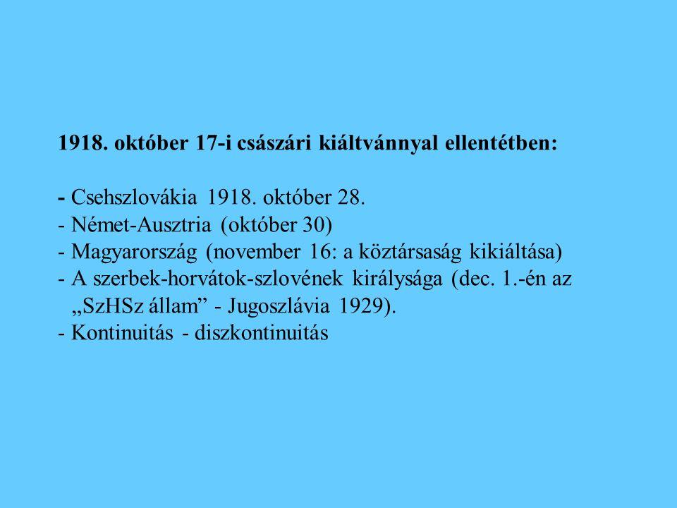 1918. október 17-i császári kiáltvánnyal ellentétben: - Csehszlovákia 1918. október 28. - Német-Ausztria (október 30) - Magyarország (november 16: a k