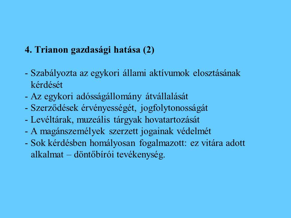 4. Trianon gazdasági hatása (2) - Szabályozta az egykori állami aktívumok elosztásának kérdését - Az egykori adósságállomány átvállalását - Szerződése