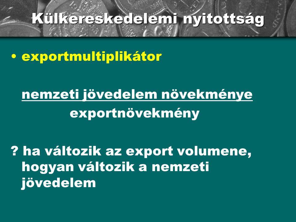 Külkereskedelemi nyitottság exportmultiplikátor nemzeti jövedelem növekménye exportnövekmény ? ha változik az export volumene, hogyan változik a nemze