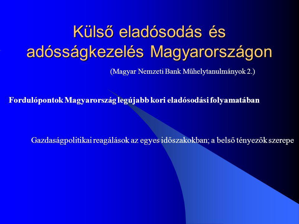 Külső eladósodás és adósságkezelés Magyarországon (Magyar Nemzeti Bank Műhelytanulmányok 2.) Fordulópontok Magyarország legújabb kori eladósodási foly