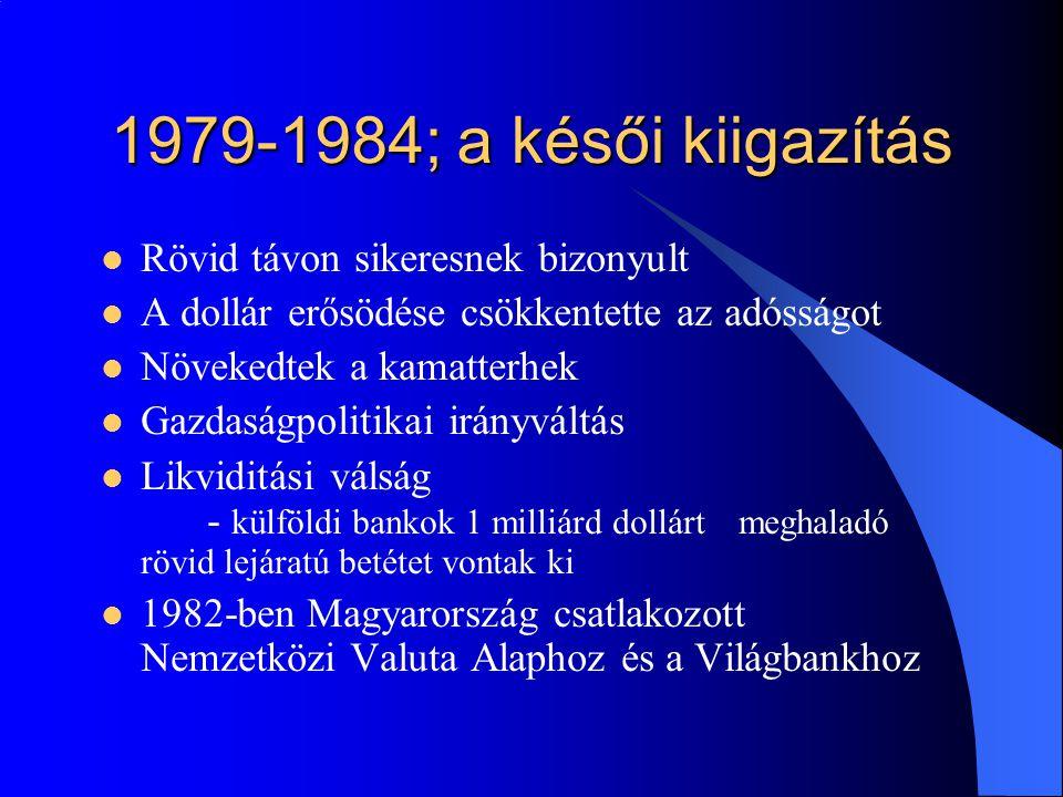 1979-1984; a késői kiigazítás Rövid távon sikeresnek bizonyult A dollár erősödése csökkentette az adósságot Növekedtek a kamatterhek Gazdaságpolitikai