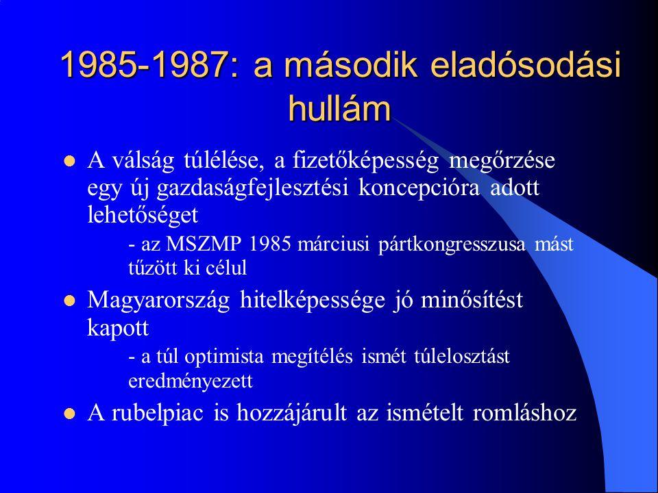 1985-1987: a második eladósodási hullám A válság túlélése, a fizetőképesség megőrzése egy új gazdaságfejlesztési koncepcióra adott lehetőséget - az MS