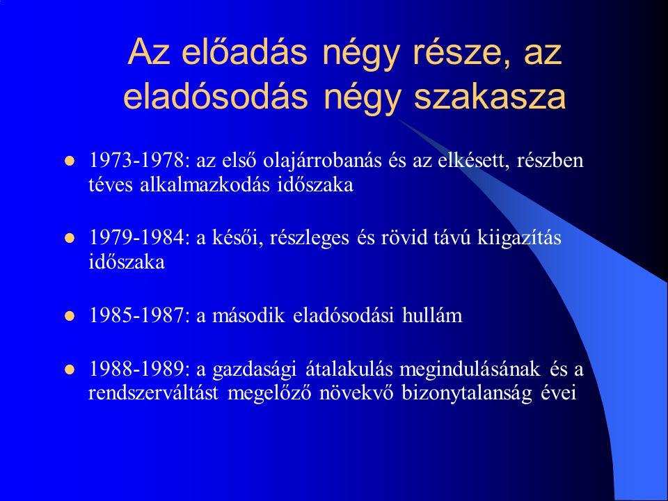 1973-1978: az első olajárrobanás és az elkésett, részben téves alkalmazkodás időszaka 1979-1984: a késői, részleges és rövid távú kiigazítás időszaka