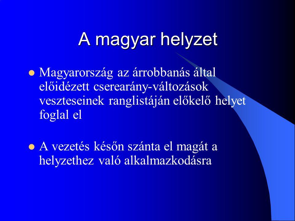 A magyar helyzet Magyarország az árrobbanás által előidézett cserearány-változások veszteseinek ranglistáján előkelő helyet foglal el A vezetés későn