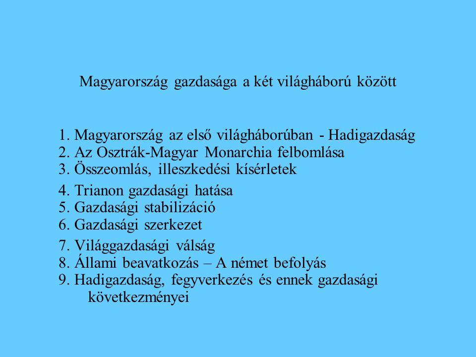 Magyarország gazdasága a két világháború között 1. Magyarország az első világháborúban - Hadigazdaság 2. Az Osztrák-Magyar Monarchia felbomlása 3. Öss