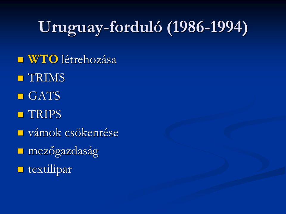 Uruguay-forduló (1986-1994) WTO létrehozása WTO létrehozása TRIMS TRIMS GATS GATS TRIPS TRIPS vámok csökentése vámok csökentése mezőgazdaság mezőgazdaság textilipar textilipar