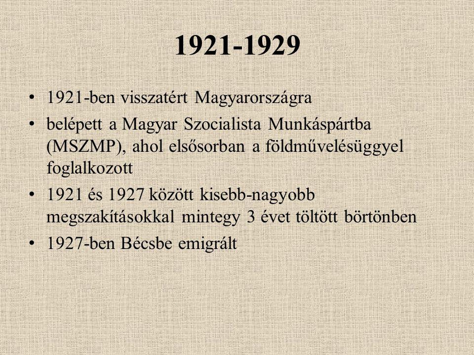 1921-1929 1921-ben visszatért Magyarországra belépett a Magyar Szocialista Munkáspártba (MSZMP), ahol elsősorban a földművelésüggyel foglalkozott 1921