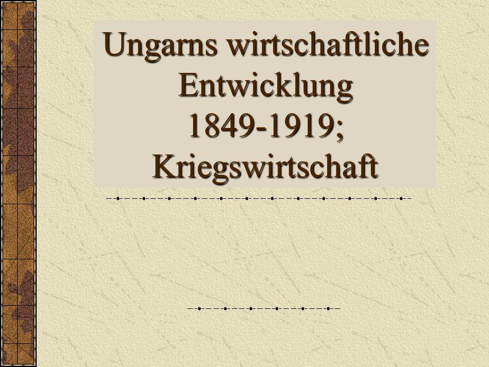 Ungarns wirtschaftliche Entwicklung 1849-1919; Kriegswirtschaft