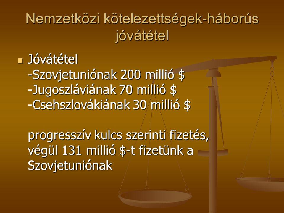 Nemzetközi kötelezettségek-háborús jóvátétel Jóvátétel -Szovjetuniónak 200 millió $ -Jugoszláviának 70 millió $ -Csehszlovákiának 30 millió $ progress