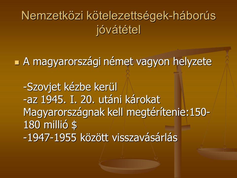 Nemzetközi kötelezettségek-háborús jóvátétel A magyarországi német vagyon helyzete -Szovjet kézbe kerül -az 1945. I. 20. utáni károkat Magyarországnak