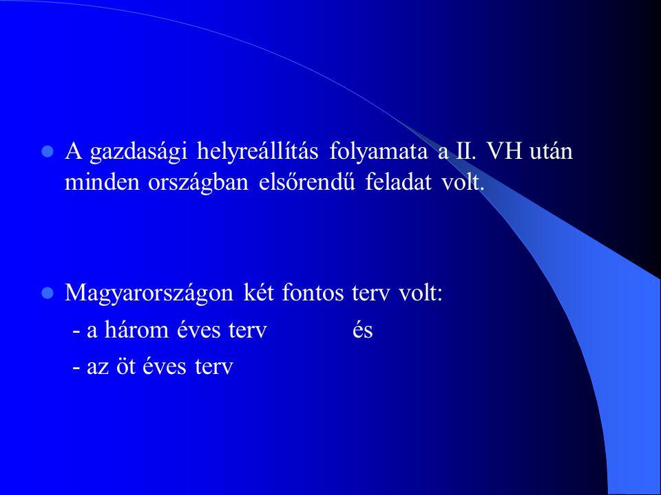 A gazdasági helyreállítás folyamata a II. VH után minden országban elsőrendű feladat volt. Magyarországon két fontos terv volt: - a három éves terv és