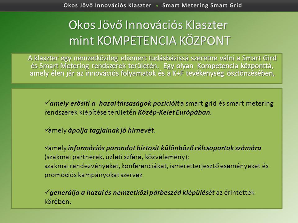 Okos Jövő Innovációs Klaszter mint KOMPETENCIA KÖZPONT A klaszter egy nemzetközileg elismert tudásbázissá szeretne válni a Smart Gird és Smart Metering rendszerek területén.