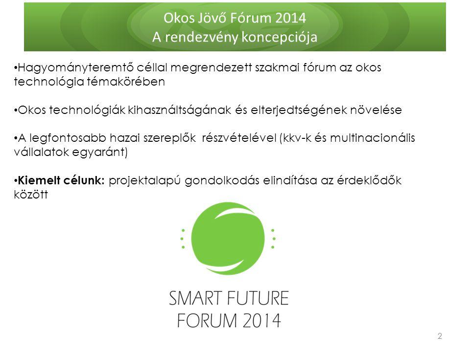 Okos Jövő Fórum 2014 A rendezvény koncepciója 2 2 Hagyományteremtő céllal megrendezett szakmai fórum az okos technológia témakörében Okos technológiák kihasználtságának és elterjedtségének növelése A legfontosabb hazai szereplők részvételével (kkv-k és multinacionális vállalatok egyaránt) Kiemelt célunk: projektalapú gondolkodás elindítása az érdeklődők között