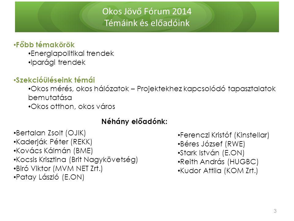 Okos Jövő Fórum 2014 Témáink és előadóink 3 3 Főbb témakörök Energiapolitikai trendek Iparági trendek Szekcióüléseink témái Okos mérés, okos hálózatok