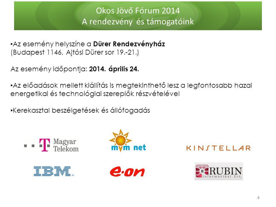 Okos Jövő Fórum 2014 A rendezvény és támogatóink 4 4 Az esemény helyszíne a Dürer Rendezvényház (Budapest 1146, Ajtósi Dürer sor 19.-21.) Az esemény időpontja: 2014.