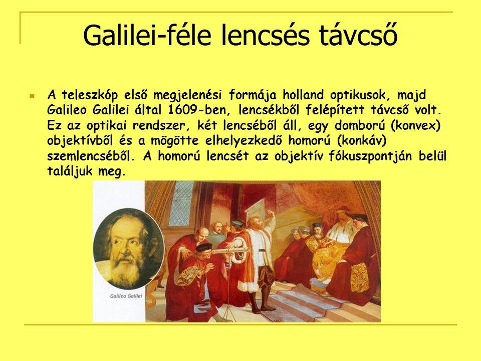 Galilei-féle lencsés távcső A teleszkóp első megjelenési formája holland optikusok, majd Galileo Galilei által 1609-ben, lencsékből felépített távcső