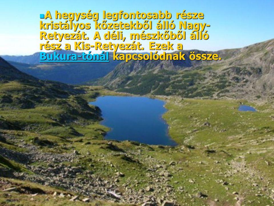 A hegység legfontosabb része kristályos kőzetekből álló Nagy- Retyezát. A déli, mészkőből álló rész a Kis-Retyezát. Ezek a Bukura-tónál kapcsolódnak ö