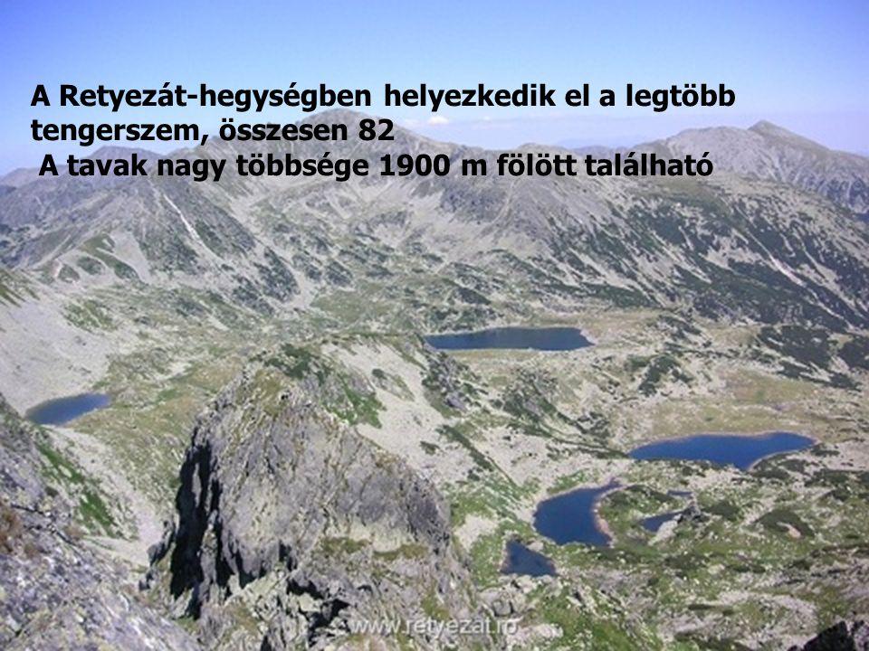 A Retyezát-hegységben helyezkedik el a legtöbb tengerszem, összesen 82 A tavak nagy többsége 1900 m fölött található