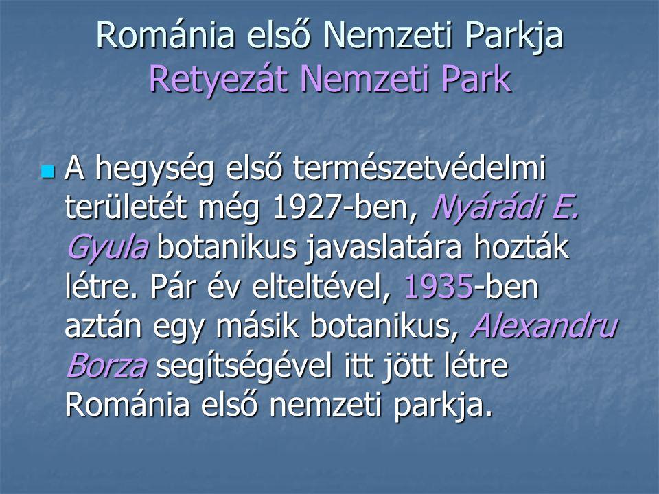 Románia első Nemzeti Parkja Retyezát Nemzeti Park A hegység első természetvédelmi területét még 1927-ben, Nyárádi E. Gyula botanikus javaslatára hoztá