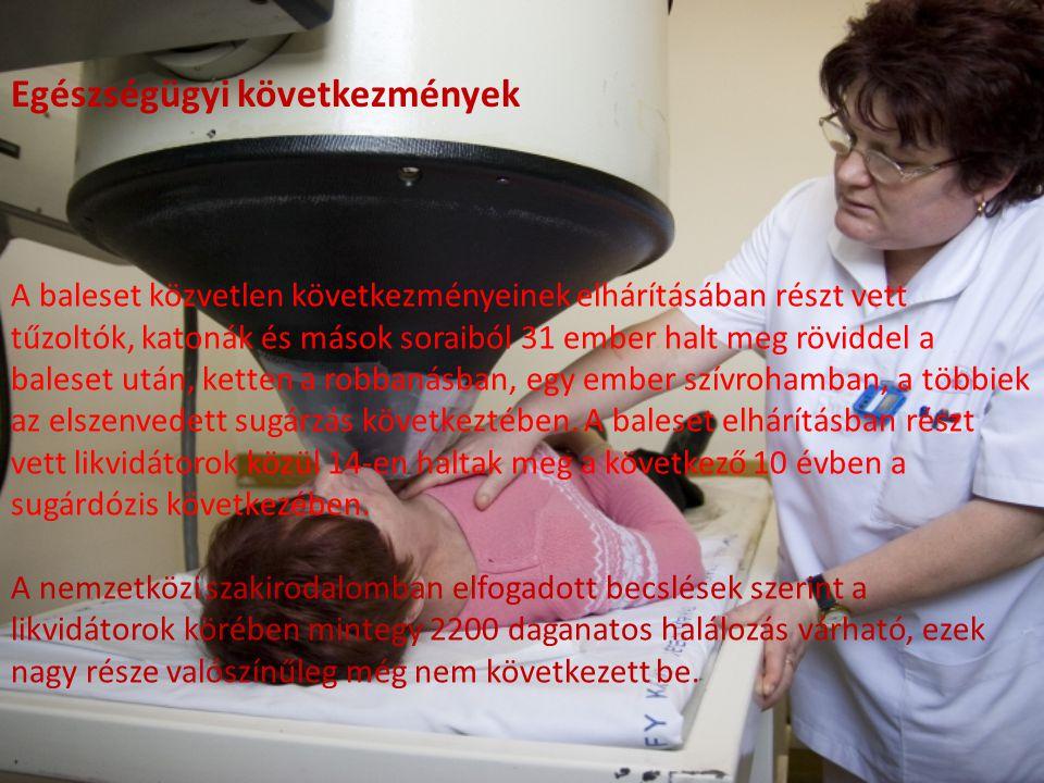 Az ENSZ 2005-ben közzétett adatai szerint négyezren haltak meg a baleset után daganatos betegségekben Ukrajnában, Fehéroroszországban és Oroszországba