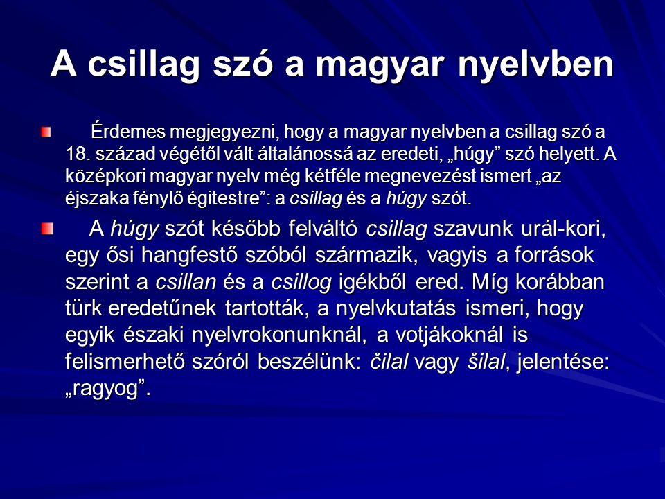 """A csillag szó a magyar nyelvben Érdemes megjegyezni, hogy a magyar nyelvben a csillag szó a 18. század végétől vált általánossá az eredeti, """"húgy"""" szó"""