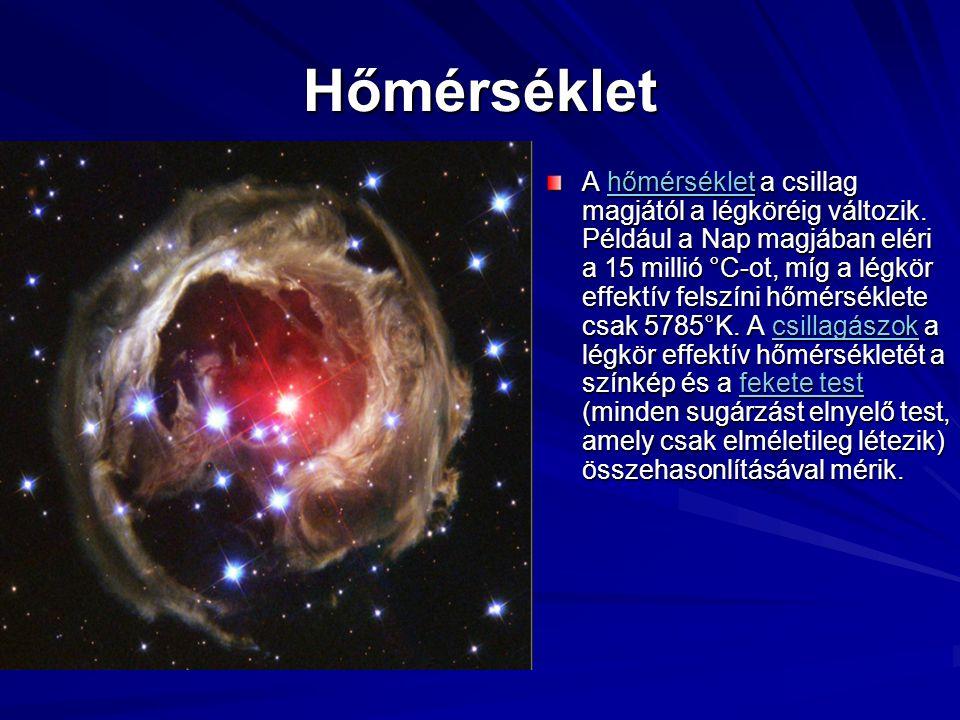 Hőmérséklet A hőmérséklet a csillag magjától a légköréig változik. Például a Nap magjában eléri a 15 millió °C-ot, míg a légkör effektív felszíni hőmé