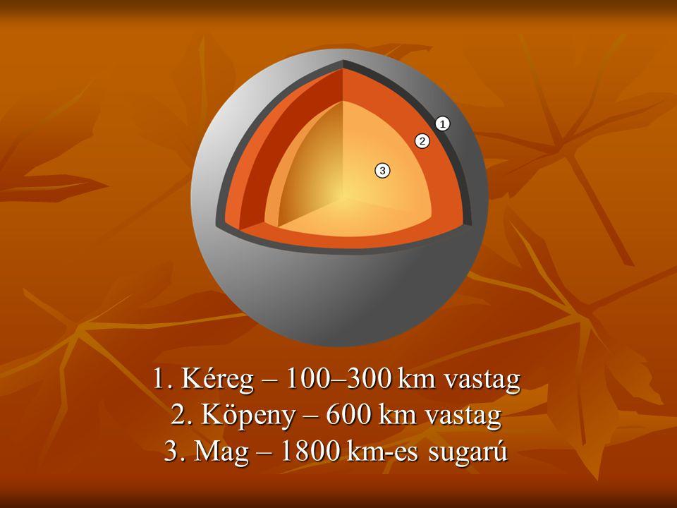 1. Kéreg – 100–300 km vastag 2. Köpeny – 600 km vastag 3. Mag – 1800 km-es sugarú