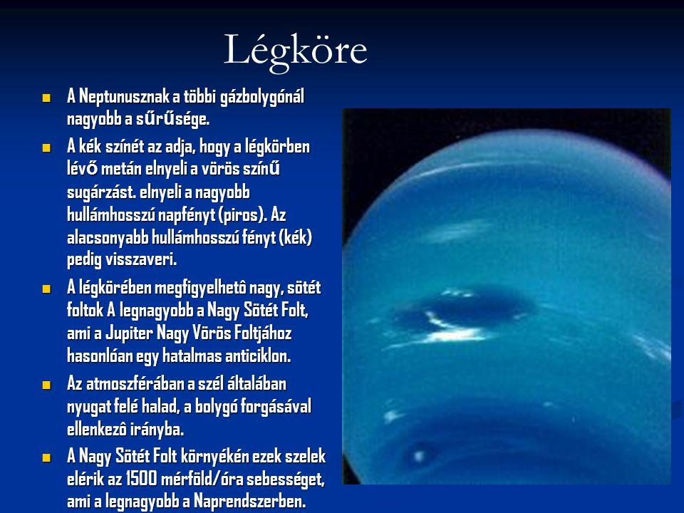 A Neptunusznak a többi gázbolygónál nagyobb a s ű r ű sége. A Neptunusznak a többi gázbolygónál nagyobb a s ű r ű sége. A kék színét az adja, hogy a l
