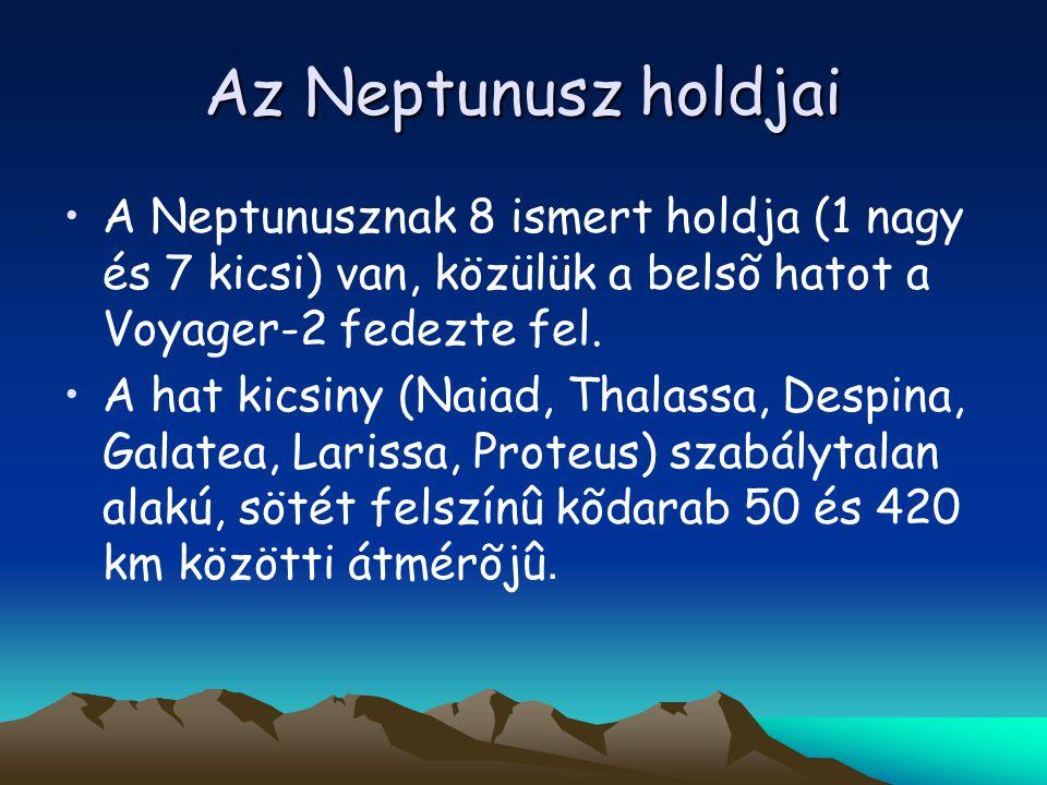 Az Neptunusz holdjai A Neptunusznak 8 ismert holdja (1 nagy és 7 kicsi) van, közülük a belsõ hatot a Voyager-2 fedezte fel. A hat kicsiny (Naiad, Thal