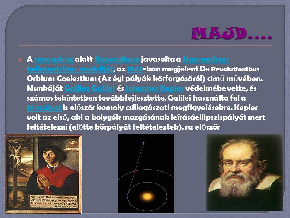  A reneszánsz alatt Kopernikusz javasolta a Naprendszer heliocentrikus modelljét, az 1543-ban megjelent De Revolutionibus Orbium Coelestium (Az égi pályák körforgásáról) cím ű m ű vében.