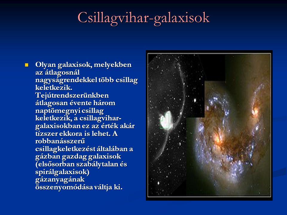Csillagvihar-galaxisok Olyan galaxisok, melyekben az átlagosnál nagyságrendekkel több csillag keletkezik. Tejútrendszerünkben átlagosan évente három n