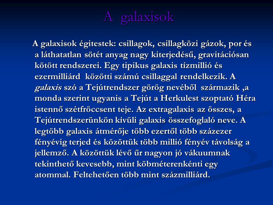 A galaxisok A galaxisok A galaxisok égitestek: csillagok, csillagközi gázok, por és a láthatatlan sötét anyag nagy kiterjedésű, gravitációsan kötött r
