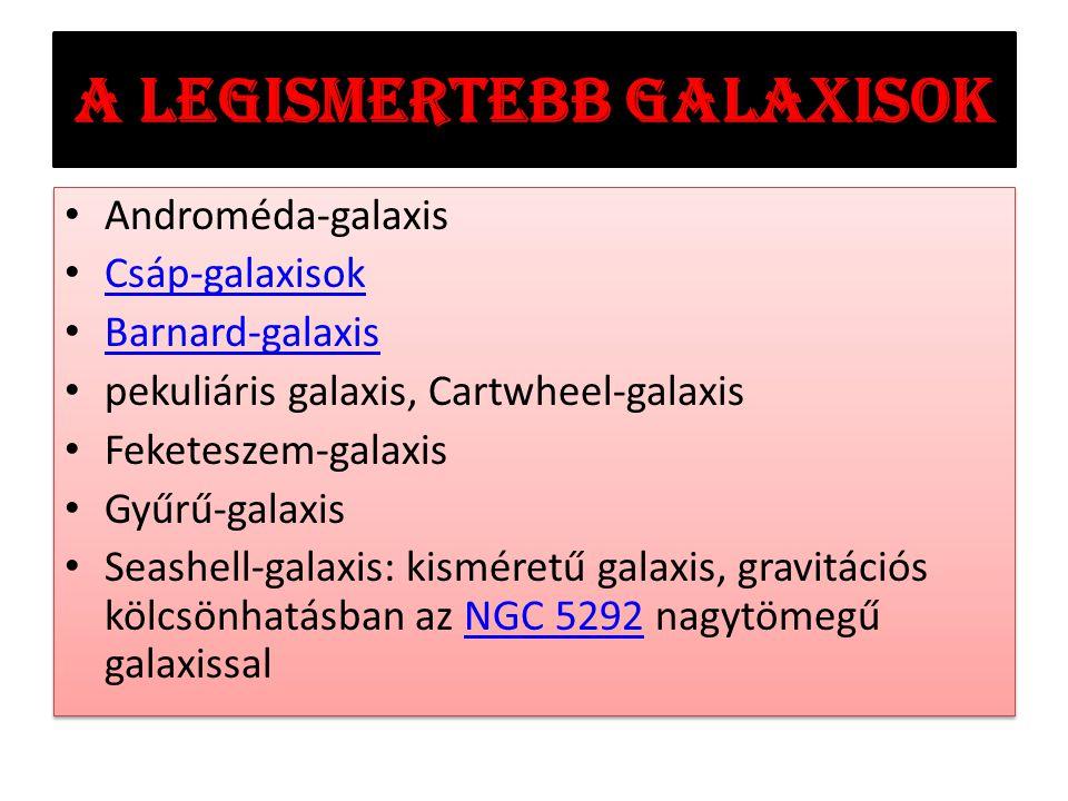 A legismertebb galaxisok Androméda-galaxis Csáp-galaxisok Barnard-galaxis pekuliáris galaxis, Cartwheel-galaxis Feketeszem-galaxis Gyűrű-galaxis Seashell-galaxis: kisméretű galaxis, gravitációs kölcsönhatásban az NGC 5292 nagytömegű galaxissalNGC 5292 Androméda-galaxis Csáp-galaxisok Barnard-galaxis pekuliáris galaxis, Cartwheel-galaxis Feketeszem-galaxis Gyűrű-galaxis Seashell-galaxis: kisméretű galaxis, gravitációs kölcsönhatásban az NGC 5292 nagytömegű galaxissalNGC 5292