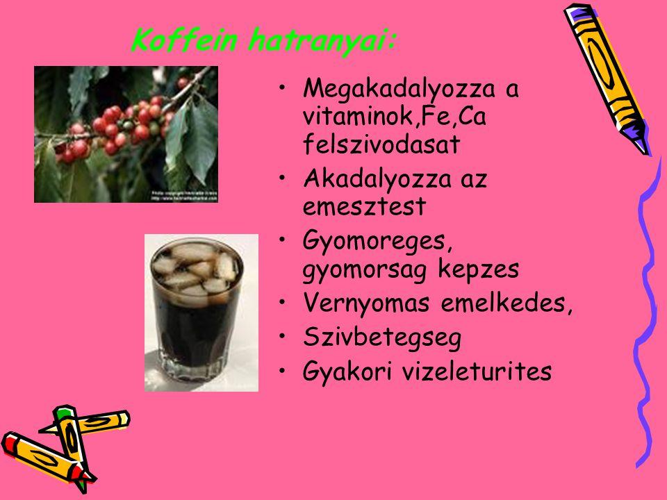 Koffein hatranyai: Megakadalyozza a vitaminok,Fe,Ca felszivodasat Akadalyozza az emesztest Gyomoreges, gyomorsag kepzes Vernyomas emelkedes, Szivbetegseg Gyakori vizeleturites