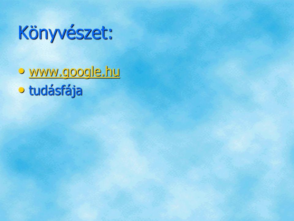Könyvészet: www.google.hu www.google.hu www.google.hu tudásfája tudásfája