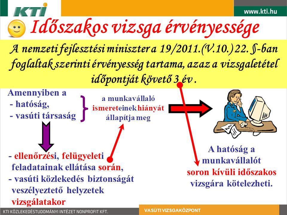 Időszakos vizsga érvényessége VASÚTI VIZSGAKÖZPONT A nemzeti fejlesztési miniszter a 19/2011.(V.10.) 22. §-ban foglaltak szerinti érvényesség tartama,