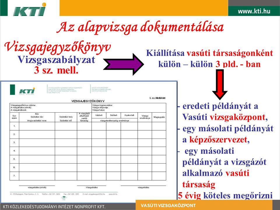 Az alapvizsga dokumentálása Vizsgajegyzőkönyv Vizsgaszabályzat 3 sz. mell. - eredeti példányát a Vasúti vizsgaközpont, - egy másolati példányát a képz
