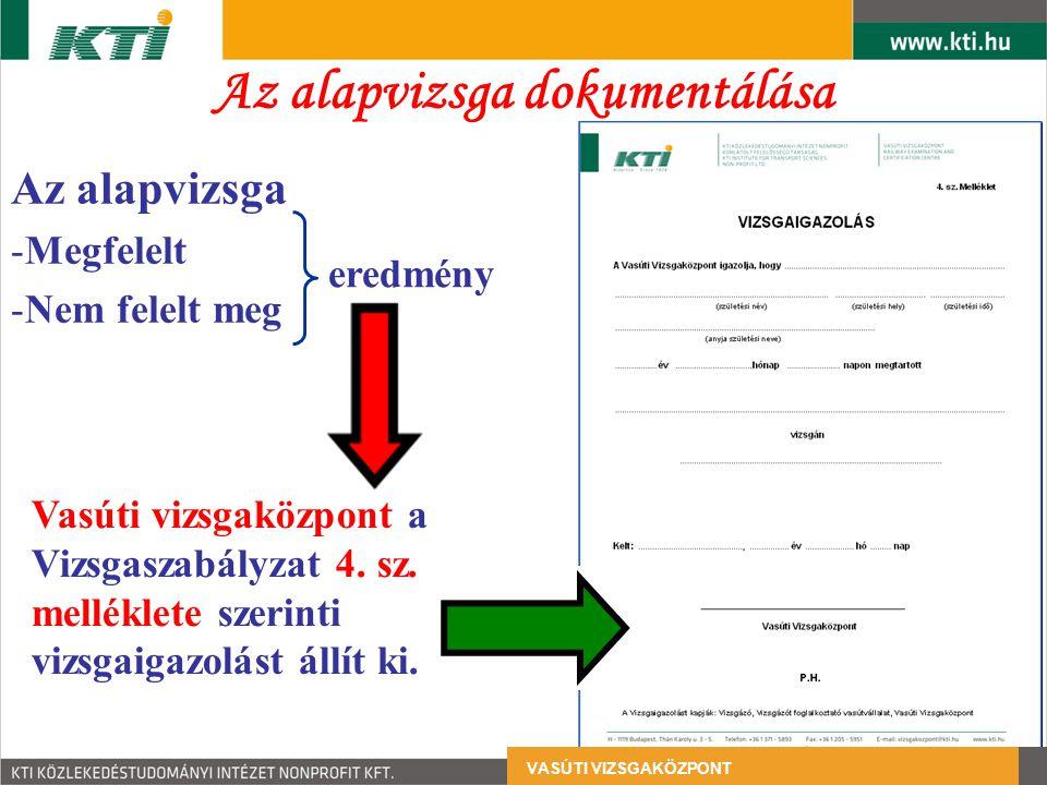 Az alapvizsga dokumentálása Az alapvizsga -Megfelelt -Nem felelt meg Vasúti vizsgaközpont a Vizsgaszabályzat 4. sz. melléklete szerinti vizsgaigazolás