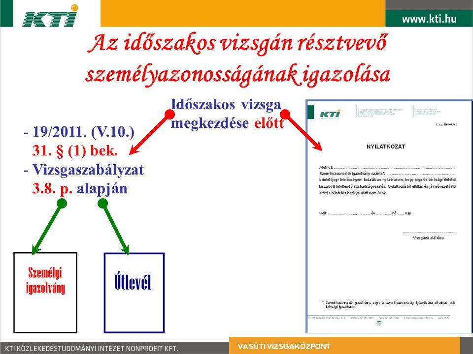 VASÚTI VIZSGAKÖZPONT Az időszakos vizsgán résztvevő személyazonosságának igazolása -19/2011. (V.10.) 31. § (1) bek. -Vizsgaszabályzat 3.8. p. alapján