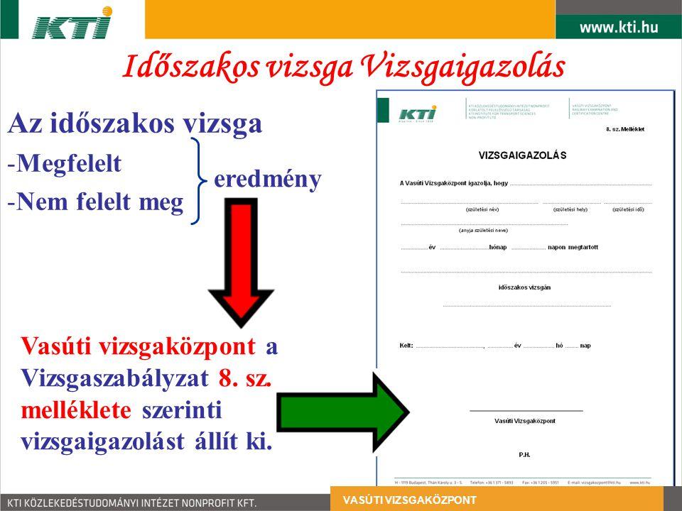 Az időszakos vizsga -Megfelelt -Nem felelt meg Vasúti vizsgaközpont a Vizsgaszabályzat 8. sz. melléklete szerinti vizsgaigazolást állít ki. eredmény I
