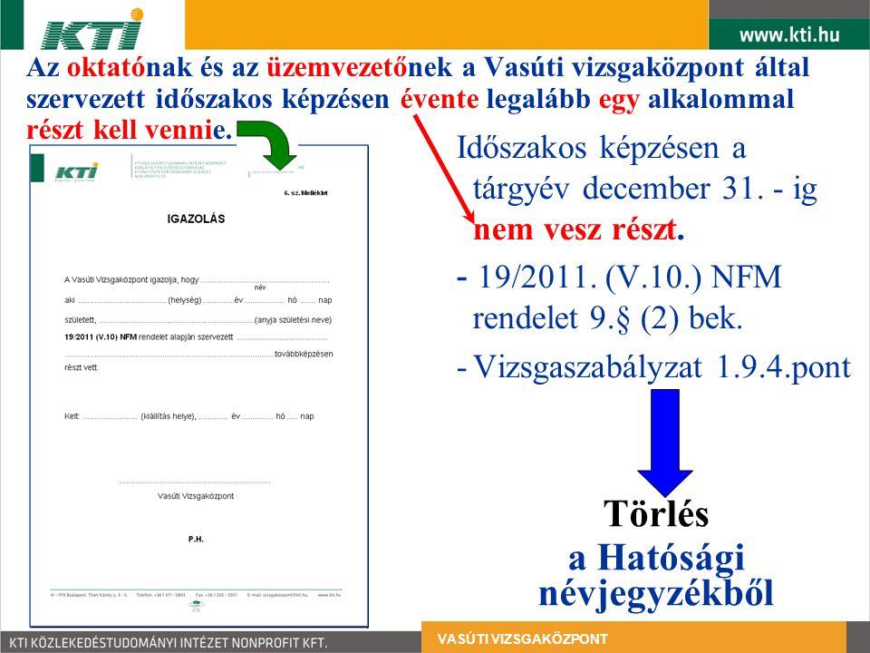Időszakos oktatások személyi adatlapja A 19/2011.(V.10) 2.