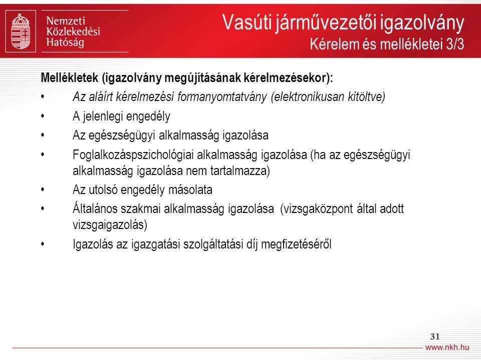 31 Vasúti járművezetői igazolvány Kérelem és mellékletei 3/3 Mellékletek (igazolvány megújításának kérelmezésekor): Az aláírt kérelmezési formanyomtat