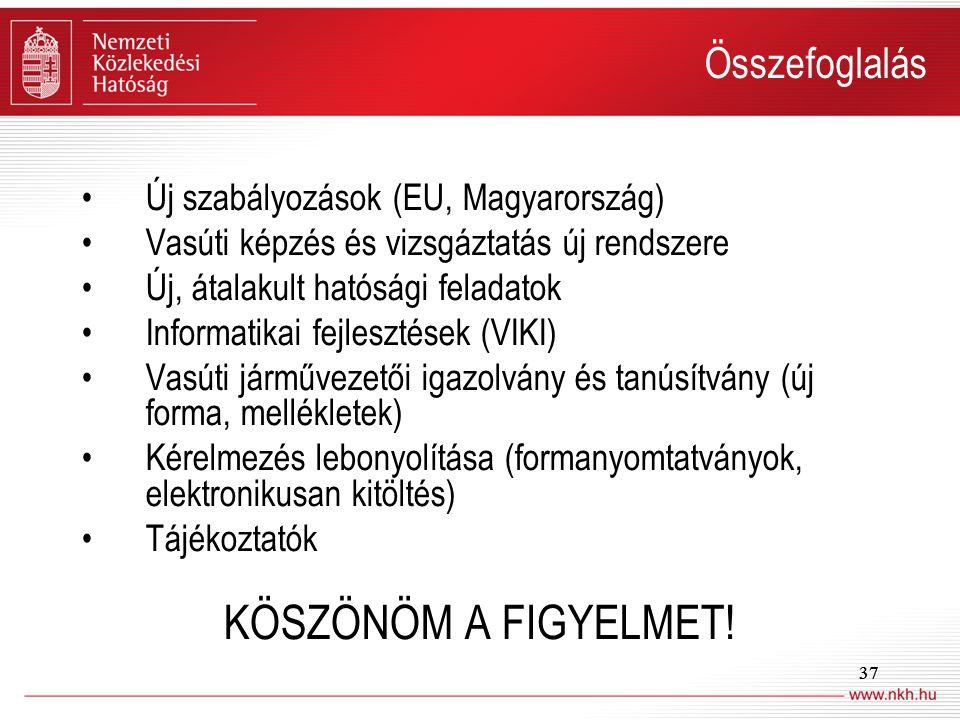 37 Összefoglalás Új szabályozások (EU, Magyarország) Vasúti képzés és vizsgáztatás új rendszere Új, átalakult hatósági feladatok Informatikai fejleszt