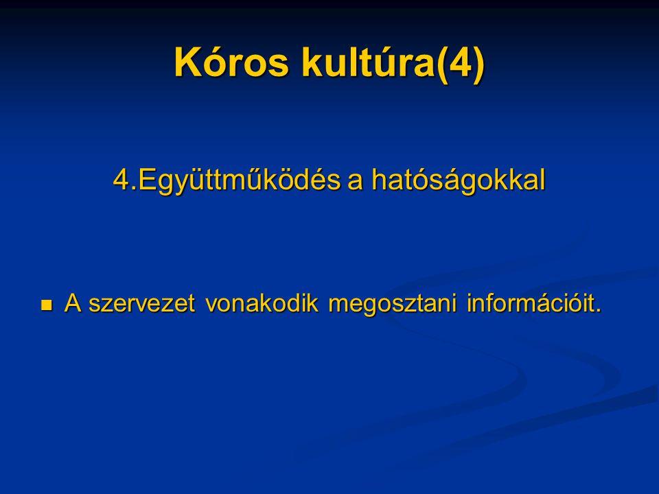 Kóros kultúra(4) 4.Együttműködés a hatóságokkal A szervezet vonakodik megosztani információit.