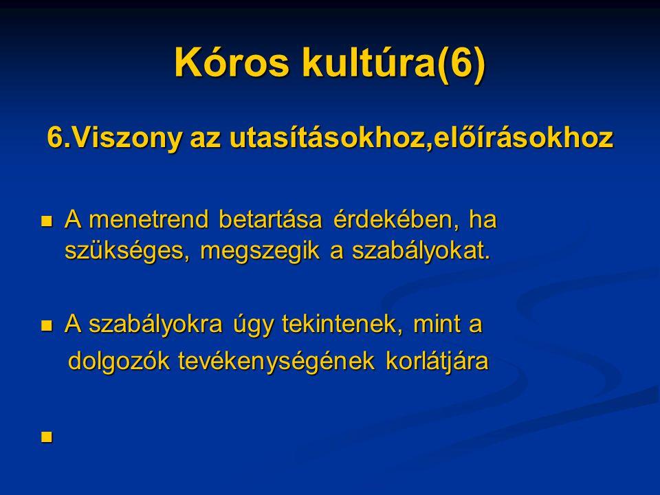 Kóros kultúra(6) 6.Viszony az utasításokhoz,előírásokhoz A menetrend betartása érdekében, ha szükséges, megszegik a szabályokat.