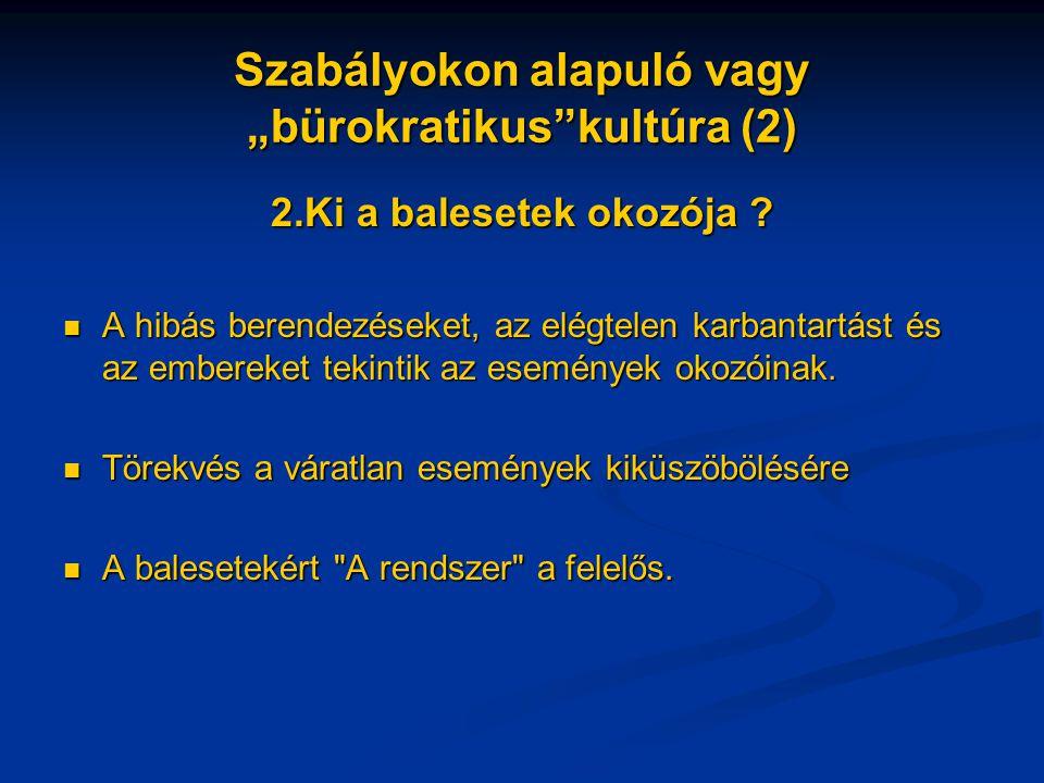 """Szabályokon alapuló vagy """"bürokratikus kultúra (2) 2.Ki a balesetek okozója ."""