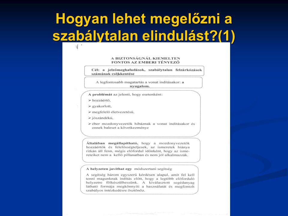 Hogyan lehet megelőzni a szabálytalan elindulást?(1)
